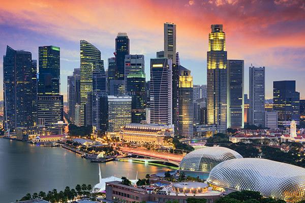 Singapore Financial District skyline at dusk