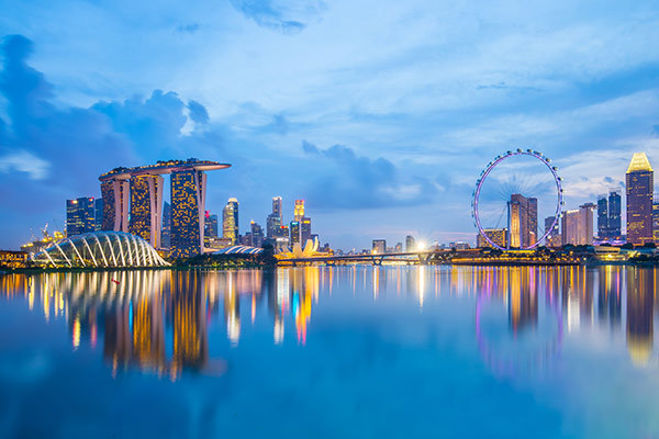 Singapore Skyline and view of Marina Bay at twilight