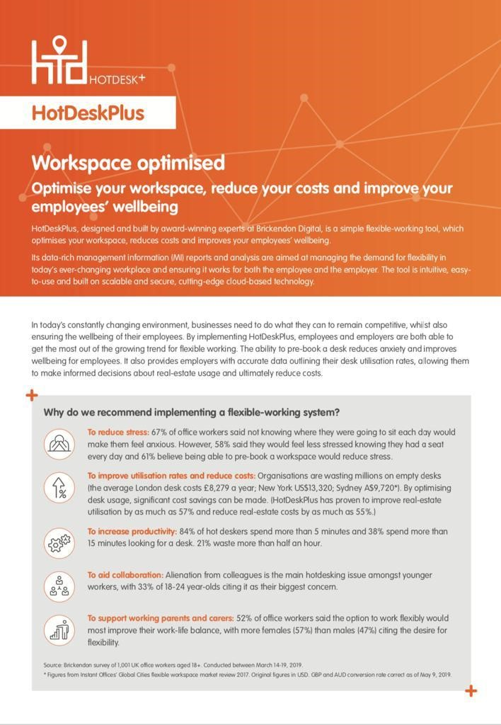 HotDeskPlus: Optimise your workspace, reduce your costs and improve your employees' wellbeing