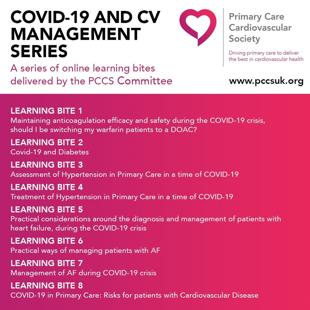 COVID-19 and CV Management Series – online learning bites