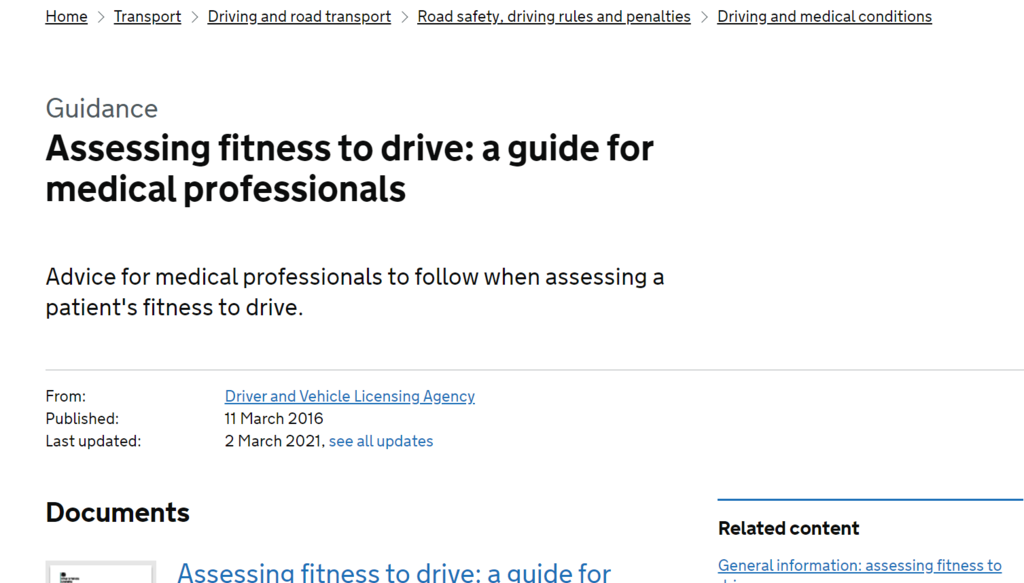 DVLA fitness to drive guidance
