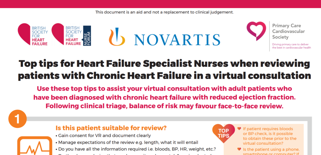Top tips for Heart Failure Specialist Nurses when reviewing patients with Chronic Heart Failure in a virtual consultation