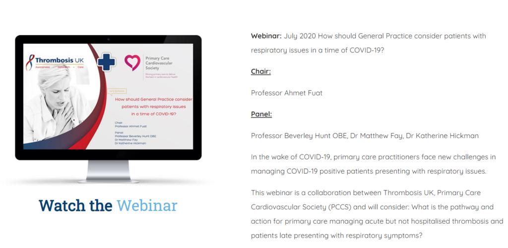 Thrombosis UK & PCCS COVID-19 Webinar Series