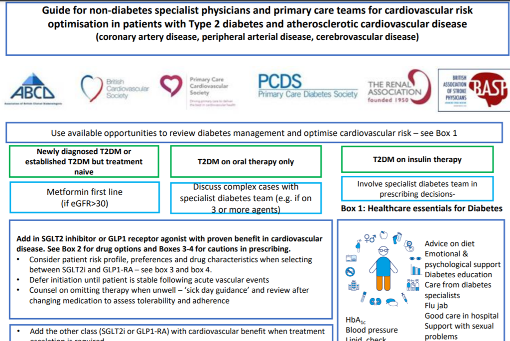 Guide for non-diabetes specialist physicians and primary care teams for cardiovascular risk optimisation in patients with Type 2 Diabetes and atherosclerotic cardiovascular disease (coronary artery disease, peripheral arterial disease, cerebrovascular disease)