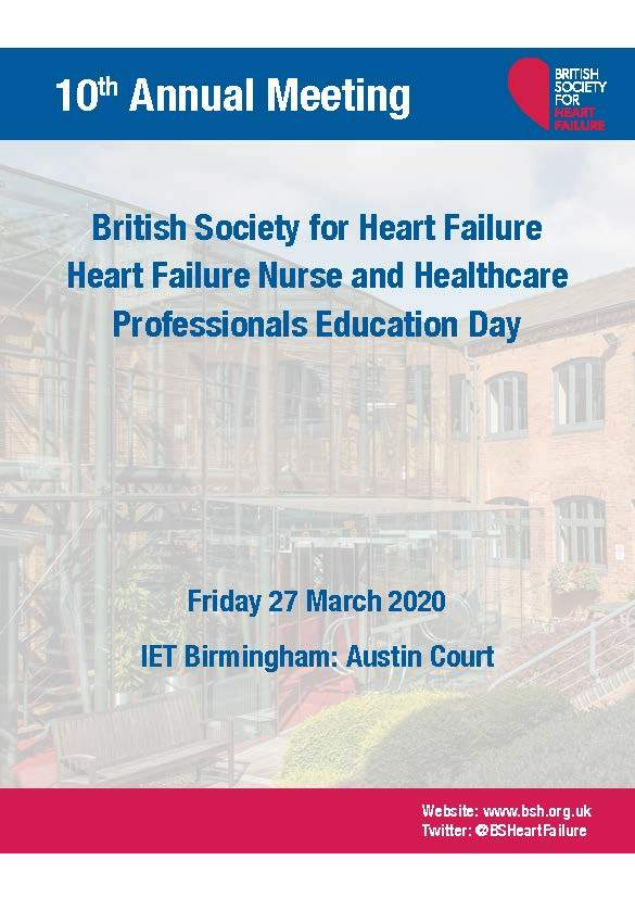 BSH Heart Failure Nurse and Healthcare Professionals Education Day - Friday 27th March 2020