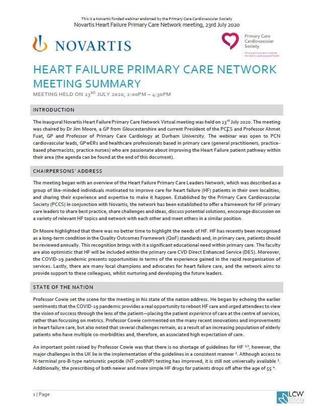 Novartis Heart Failure Primary Care Network - Meeting Summary