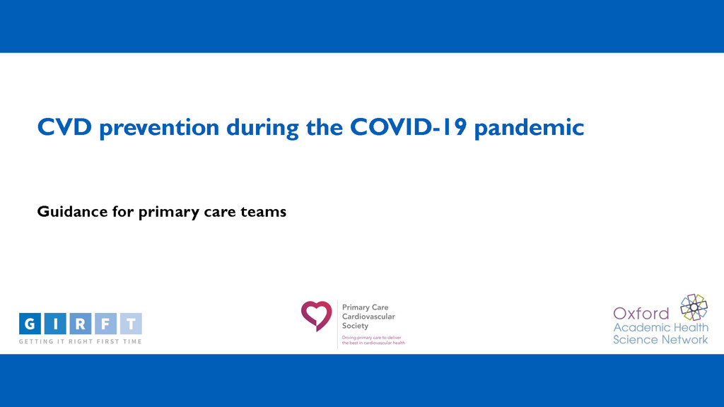 New guidance helps primary care teams deliver best CVD services during the pandemic