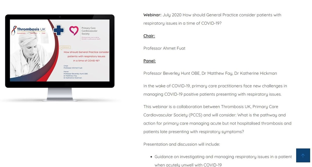 Thrombosis UK COVID-19 Webinar Series