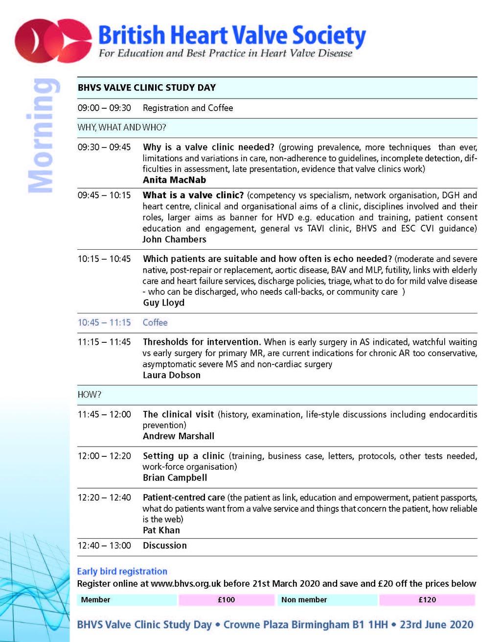 British Heart Valve Society (BHVS) - Clinic Study Day