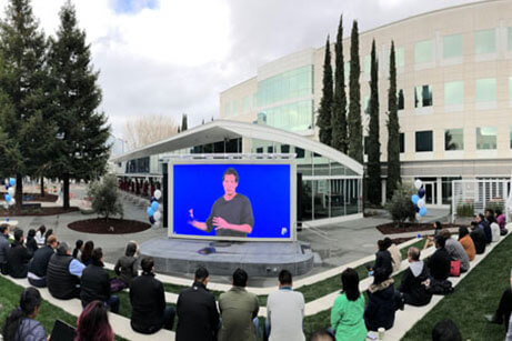 Precisely directed sound at PayPal's outdoor meeting space