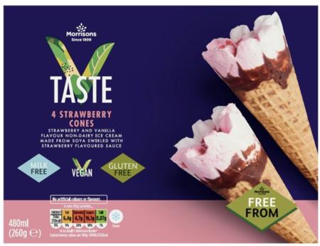 Morrisons V Taste Strawberry Ice Cream Cones