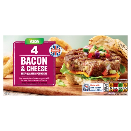 Asda Bacon & Cheese British Beef Quarter Pounders, ABP Wessex Foods
