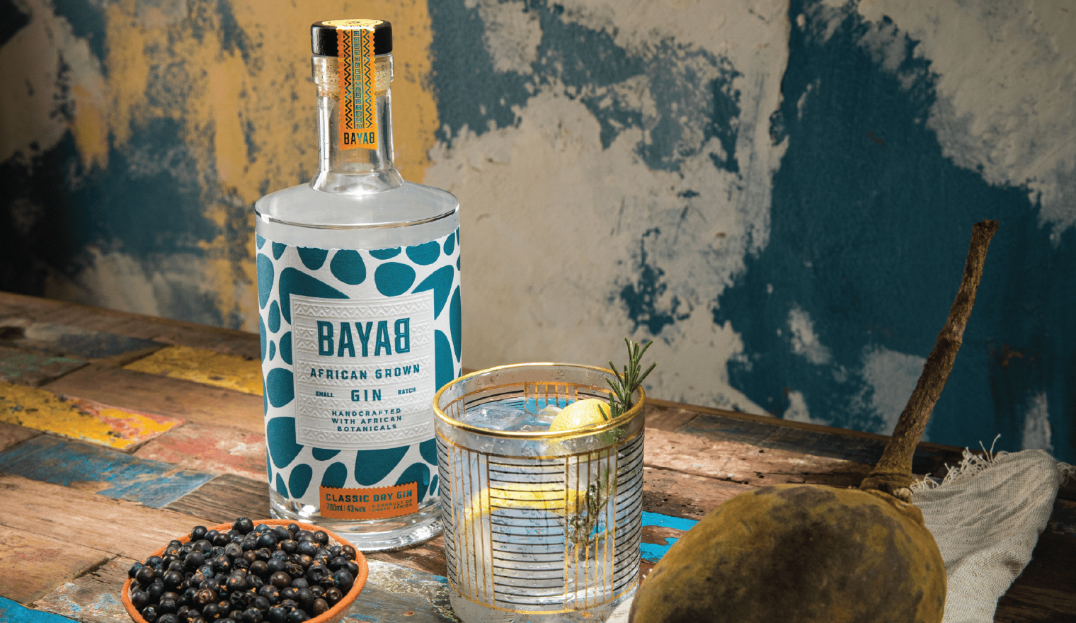 Backbar Studio's unique rebrand for African grown Bayab Gin