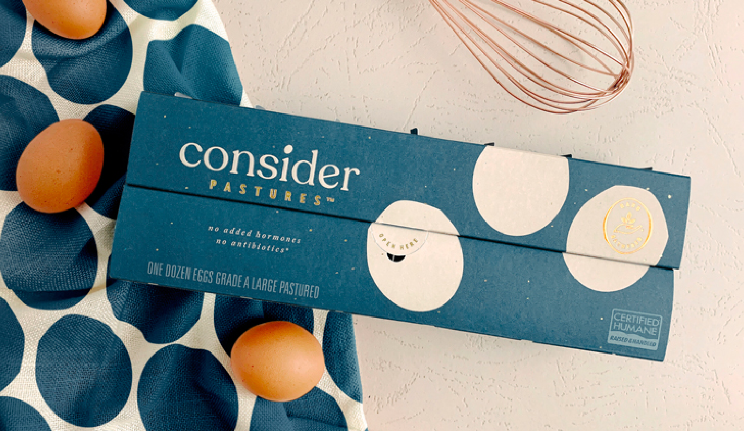Pearlfisher brand solution for Consider Pastures Gold Standard Eggs
